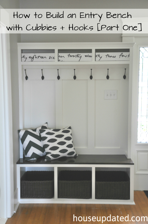 Entry Bench With Cubbies And Hooks
