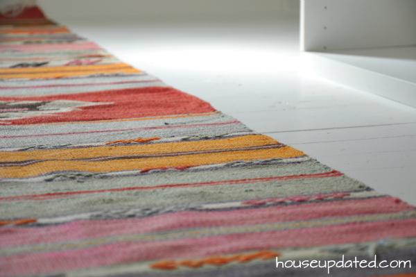 Kilim Rug White Painted Wood Floors