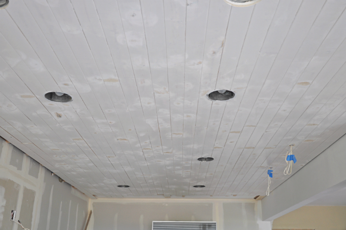 Diy How To Paint A Planked Ceiling For