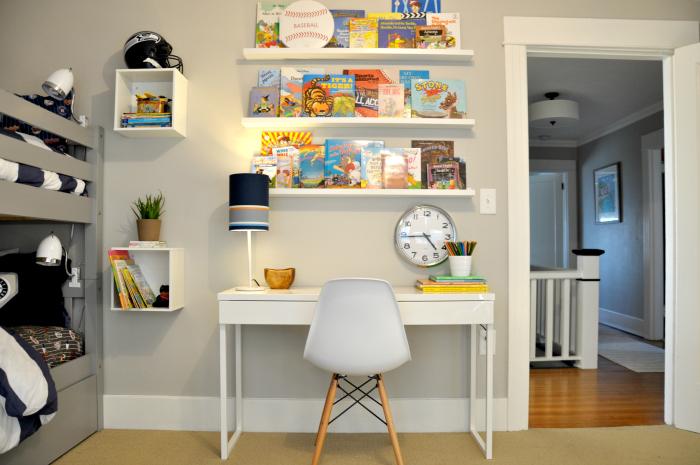 Kid Room Desk Books Clock