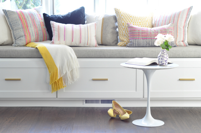 Window Seat With Br Hardware And Eclectic Pillows